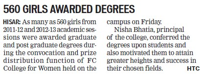 560 girls awarded degrees (FC College for Women)