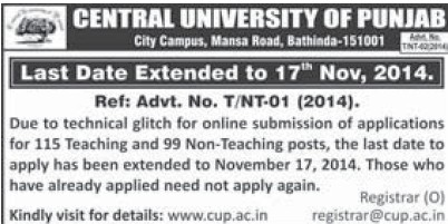 Teaching and Non teaching posts (Central University of Punjab)
