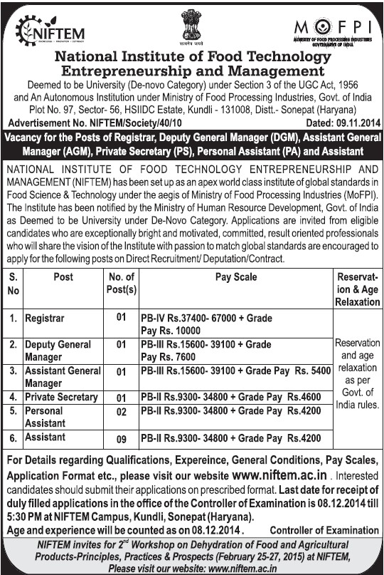 Private Secretary and Personal Assistant (National Institute of Food Technology Entrepreneurship and Management (NIFTEM))