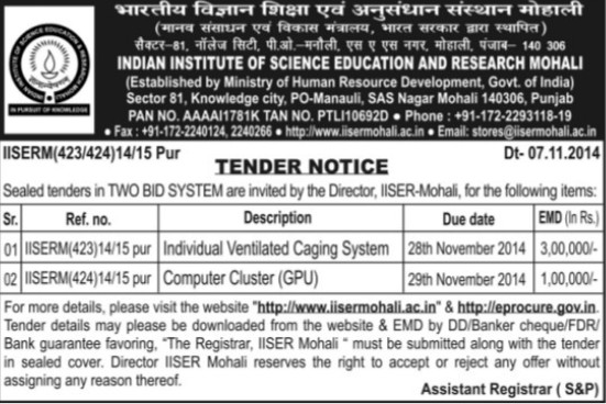 Supply of Individual Ventilated caging system (Indian Institute of Science Education and Research (IISER))
