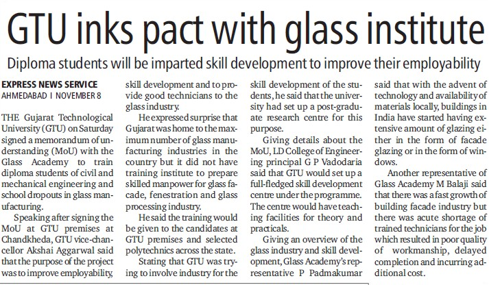 GTU inks pact with glass institute (Gujarat Technological University)