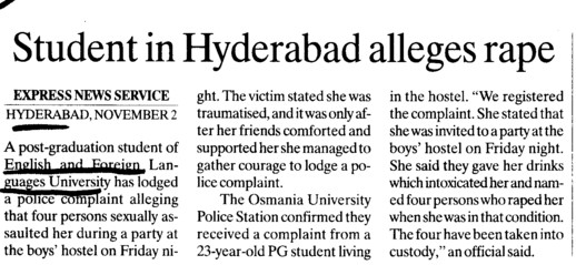 Student in Hyderabad alleges rape (English and Foreign Languages University)