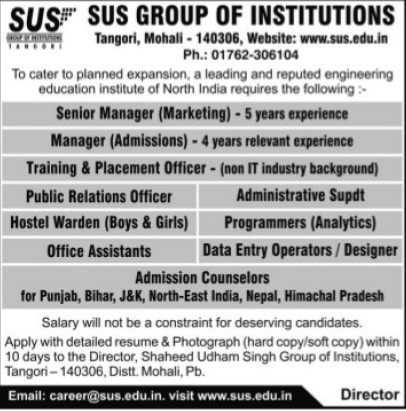 Training and Placement Officer (SUS Group of Institutions)
