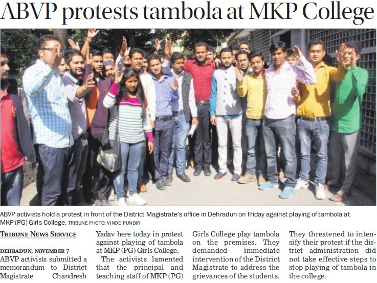 ABVP protests tambola at MKP College (MKP PG College)