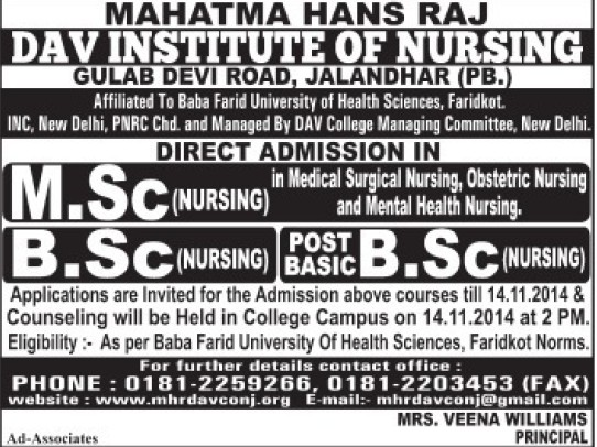 BSc Nursing course (Mahatma Hans Raj DAV Institute of Nursing)