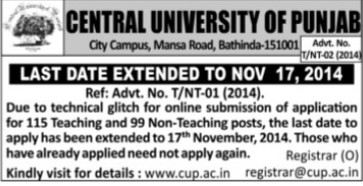 Teaching and non teaching posys (Central University of Punjab)