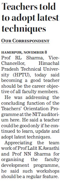 Teachers told to adopt latest techniques (Himachal Pradesh Technical University HPTU)