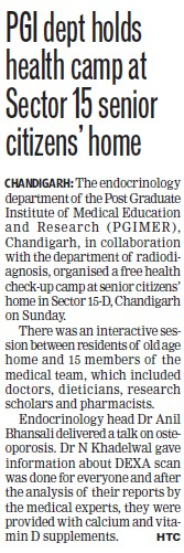 PGI dept holds health camp (Post-Graduate Institute of Medical Education and Research (PGIMER))
