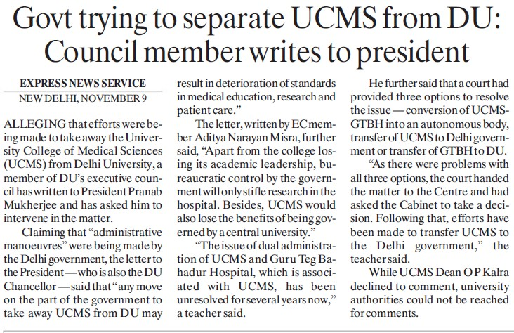 Council members writes to President (Delhi University)