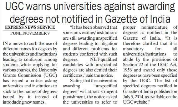UGC warns universities against awarding degrees (University Grants Commission (UGC))