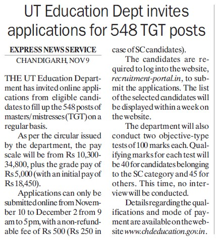 Edu Dept invites app for 548 TGT posts (Education Department Chandigarh Administration)