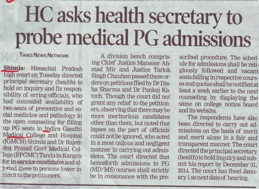 HC asks health secretary to probe medical PG admissions (Indira Gandhi Medical College (IGMC))