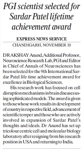 PGI Scientist selected for Sardar Patel lifetime award (Post-Graduate Institute of Medical Education and Research (PGIMER))
