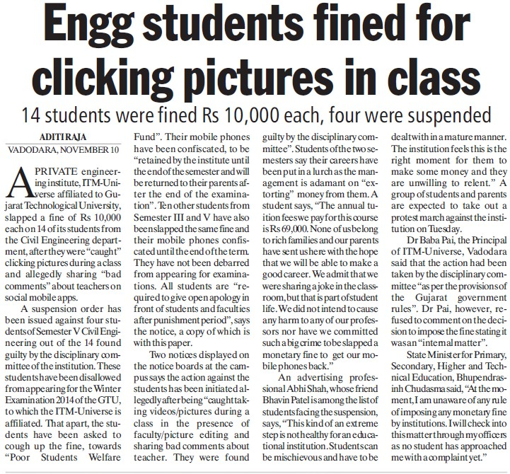 Engg students fined for clicking pictures in class (Gujarat Technological University)