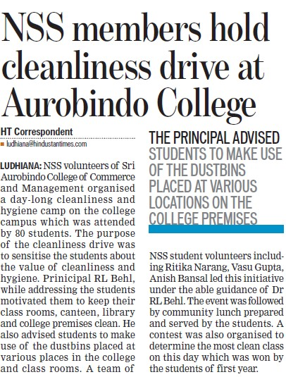 NSS members hold cleanliness drive (Sri Aurobindo College of Commerce and Management)