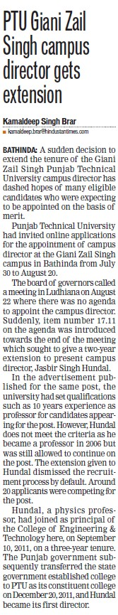 GZS campus Director gets extension (Giani Zail Singh College Punjab Technical University (GZS PTU) Campus)