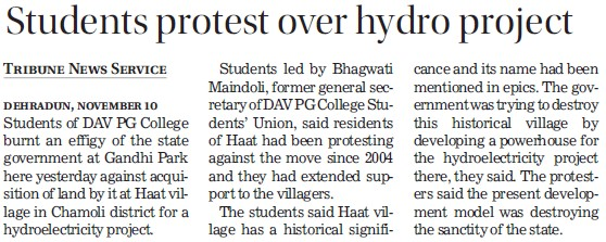 Students protest over hydro project (DAV PG College Karanpur)