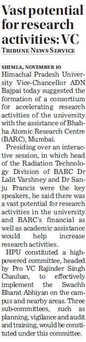 Vast Potential for research activities, VC (Himachal Pradesh University)