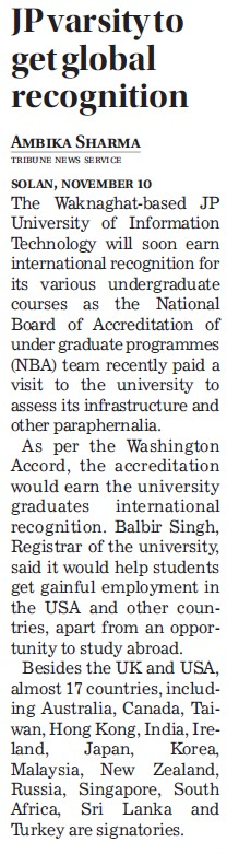 JP Varsity to get global recognition (Jaypee University of Information Technology (JUIT))
