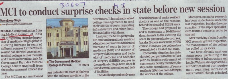 MCI to conduct surprise checks in state before new session (Medical Council of India (MCI))
