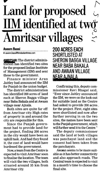 Land for proposed IIM identified at two Amritsar villages (Indian institute of Management (IIM))