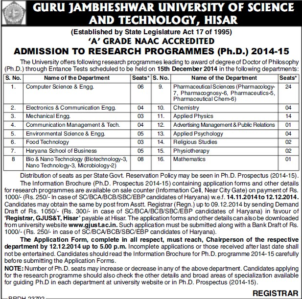 Research Programme (Guru Jambheshwar University of Science and Technology (GJUST))