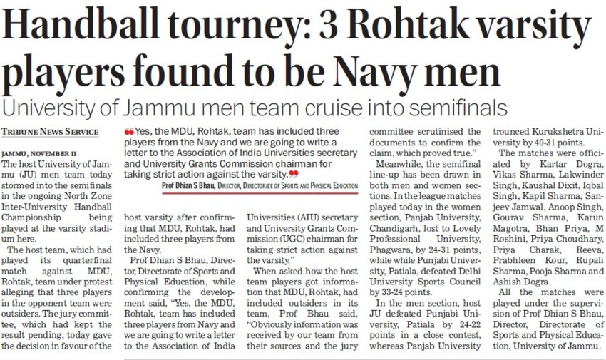 Rohtak Varsity players found to be Navy men (Jammu University)