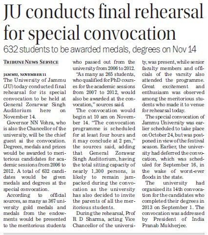 JU Conducts final rehearsal for special convocation (Jammu University)