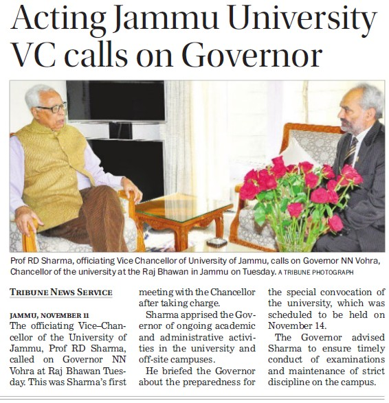 Acting Jammu University VC calls on Governor (Jammu University)