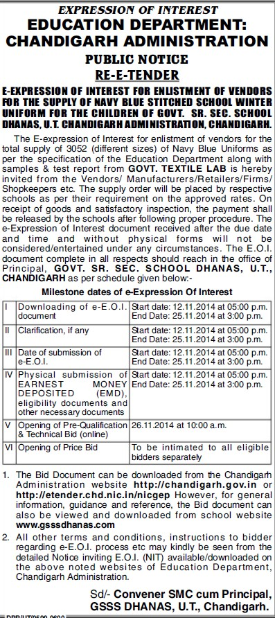 Supply of Navy blue stitched uniform (Education Department Chandigarh Administration)