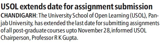 USOL extends date for assignment submission (University School of Open Learning (USOL))