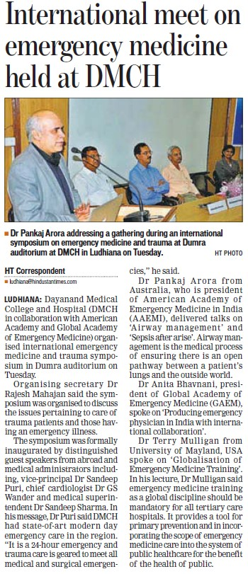 International meet on emergency medicine (Dayanand Medical College and Hospital DMC)
