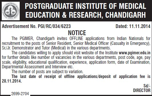 Senior Medical Officer (Post-Graduate Institute of Medical Education and Research (PGIMER))