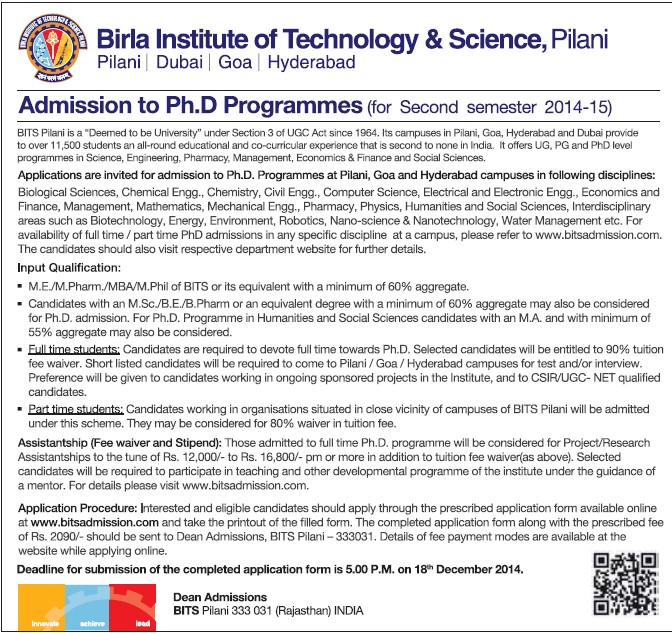 PhD Programme (Birla Institute of Technology and Science (BITS))
