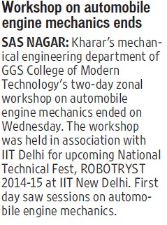 Workshop on Automobile engine mechanics ends (GGS College of Modern Technology)