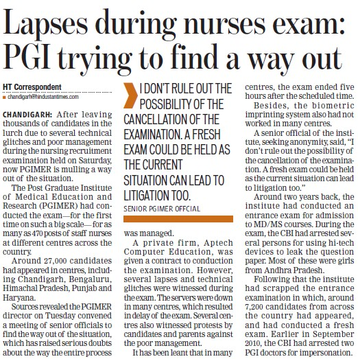 Lapses during nurses exam, PGI trying to find a way out (Post-Graduate Institute of Medical Education and Research (PGIMER))