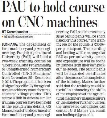 PAU to hold course on CNC machines (Punjab Agricultural University PAU)
