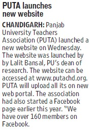 PUTA launches new website (Panjab University Teachers Association (PUTA))