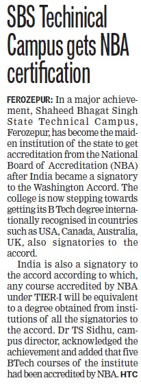 SBS Technical Campus gets NBA certification (Shaheed Bhagat Singh State (SBBS) Technical Campus)