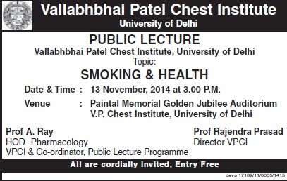Public Lecture on Smoking and Health (Vallabhbhai Patel Chest Institute)