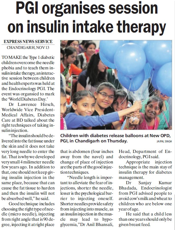 PGI organises session on insulin intake happy (Post-Graduate Institute of Medical Education and Research (PGIMER))