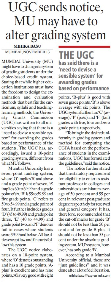 UGC sends notice, MU may have to alter grading system (University of Mumbai (UoM))