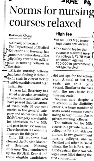 Norms for Nursing courses relaxed (Director Research and Medical Education DRME Punjab)