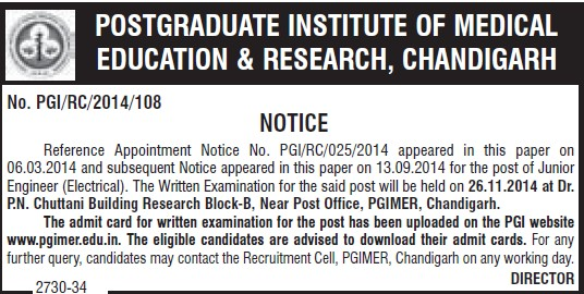 Junior Engineer (Post-Graduate Institute of Medical Education and Research (PGIMER))