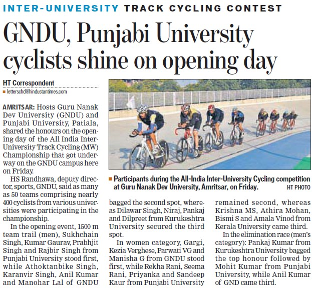 GNDU cyclist shine on opening day (Guru Nanak Dev University (GNDU))
