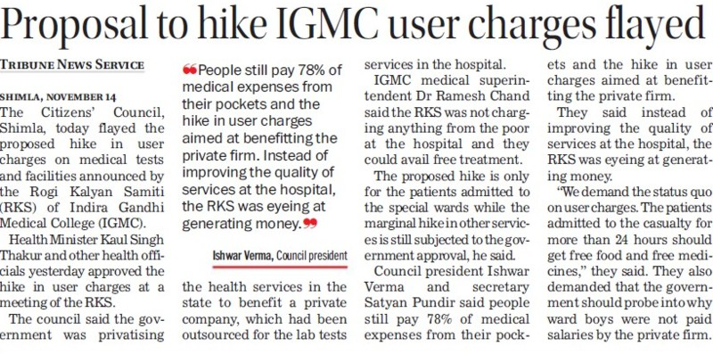 Proposal to hike IGMC user charges flayed (Indira Gandhi Medical College (IGMC))