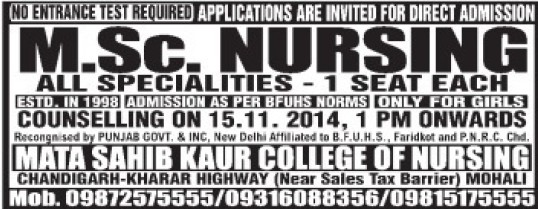 MSc Nursing (Mata Sahib Kaur College of Nursing)