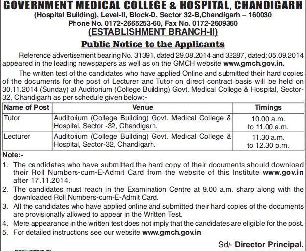Tutor and Lecture (Government Medical College and Hospital (Sector 32))