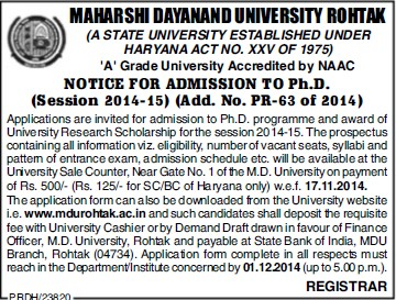 PhD Programme (Maharshi Dayanand University)