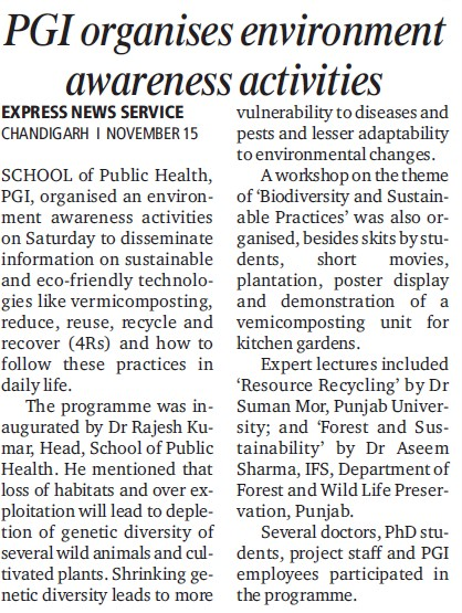 PGI organises environment awarenss activities (Post-Graduate Institute of Medical Education and Research (PGIMER))